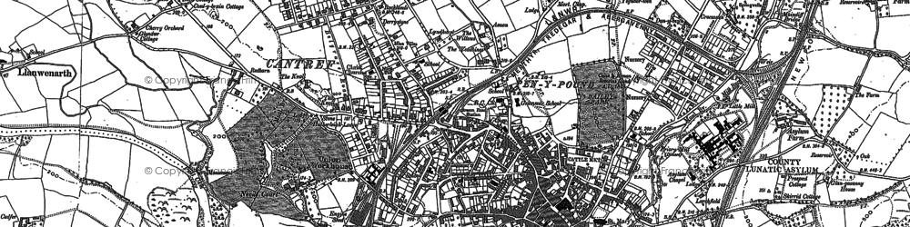 Old map of Abergavenny in 1879