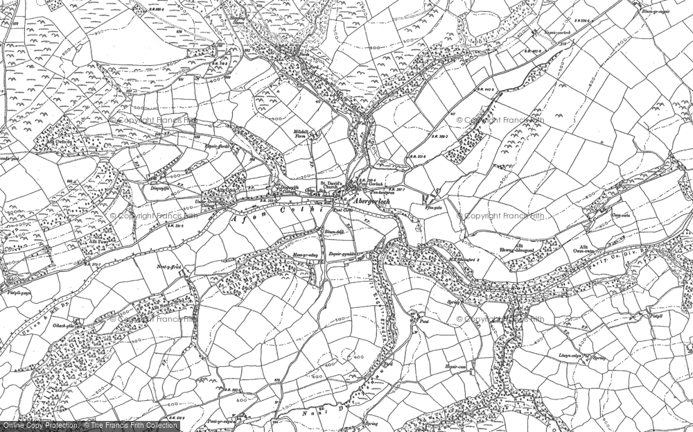 Map of Abergorlech, 1886