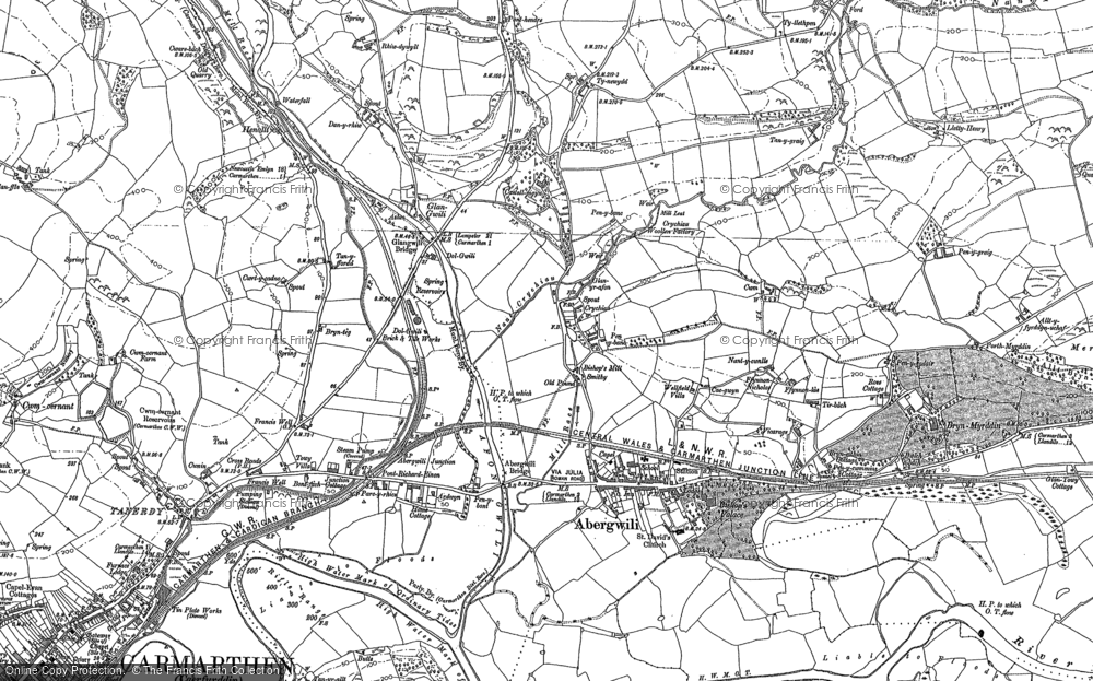 Old Map of Abergwili, 1886 in 1886