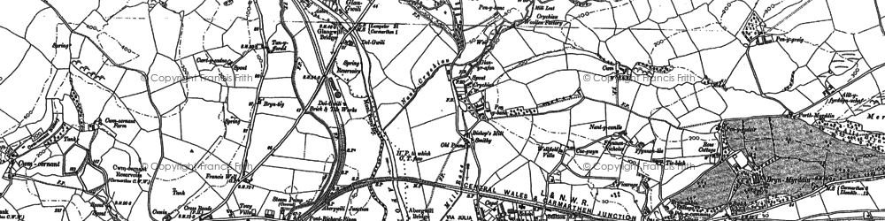 Old map of Abergwili in 1886