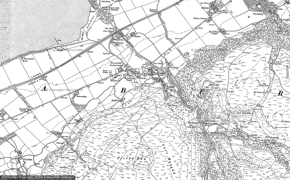 Old Map of Historic Map covering Aber Falls in 1899