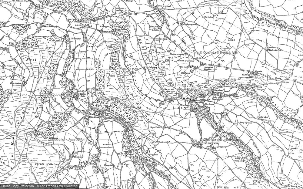Old Map of Historic Map covering Afon Hengwm in 1886
