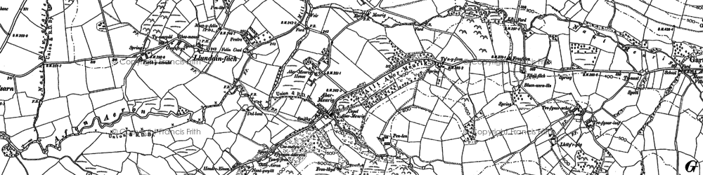 Old map of Abermeurig in 1887