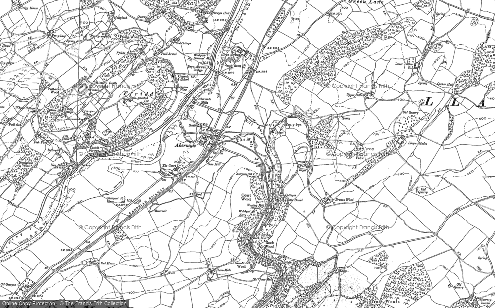 Old Map of Abermule, 1884 in 1884