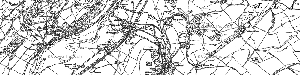 Old map of Abermule in 1884