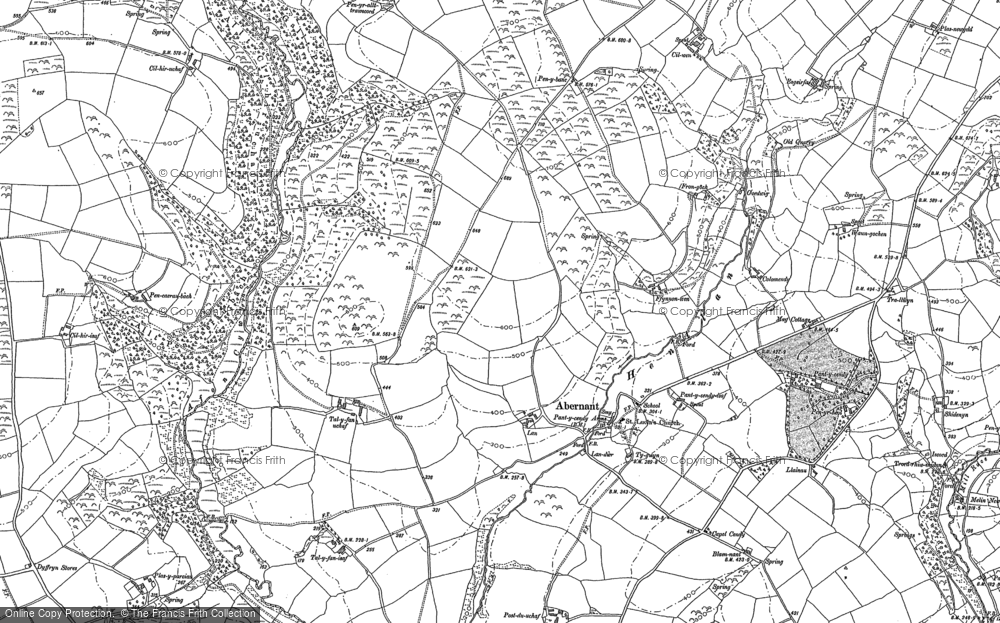 Old Map of Abernant, 1887 in 1887
