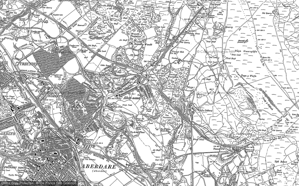 Old Map of Abernant, 1898 in 1898