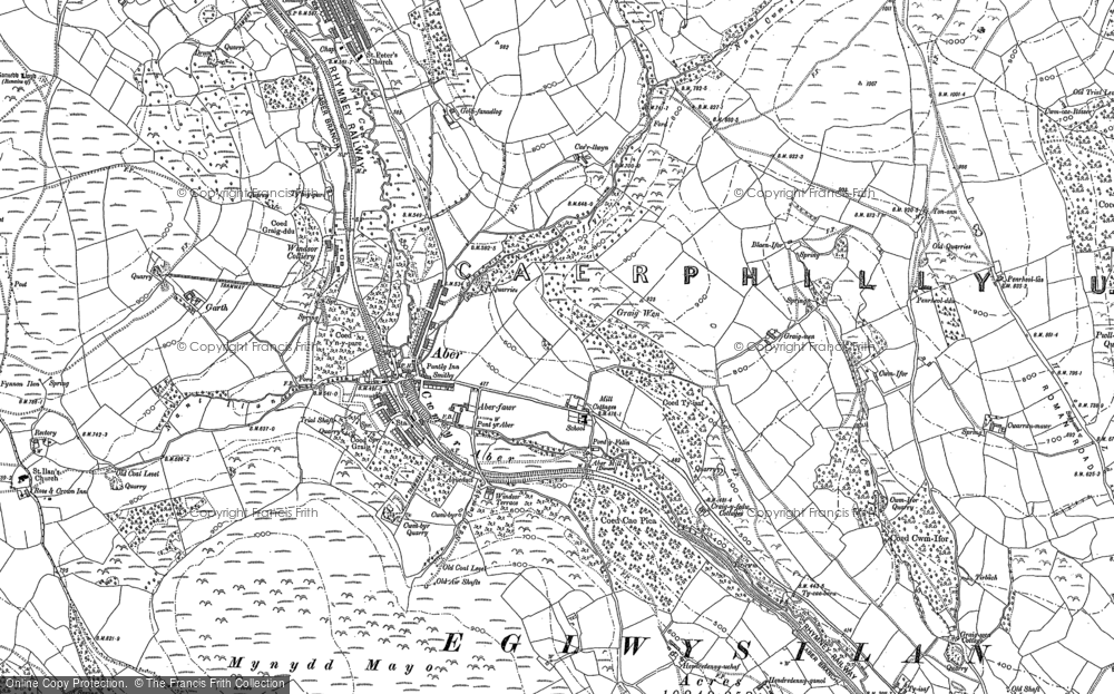Map of Abertridwr, 1898 - 1915