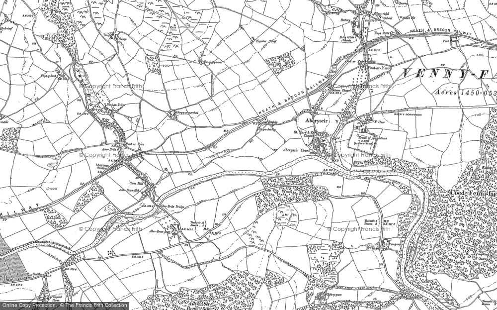 Old Map of Aberyscir, 1886 - 1887 in 1886
