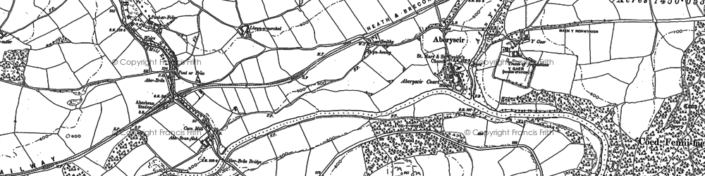 Old map of Aberyscir in 1886