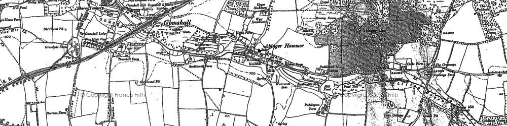 Old map of Abinger Hammer in 1895