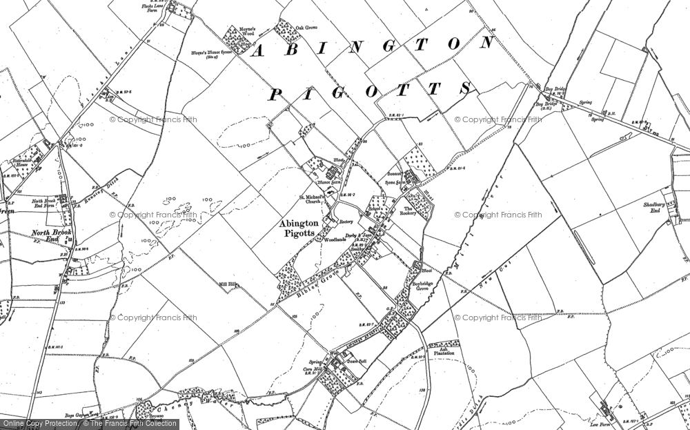 Old Map of Abington Pigotts, 1885 - 1901 in 1885