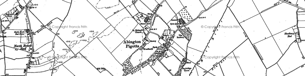 Old map of Abington Pigotts in 1885