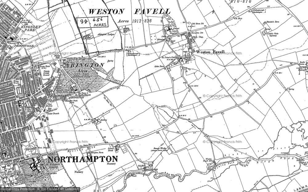 Old Map of Abington Vale, 1884 in 1884