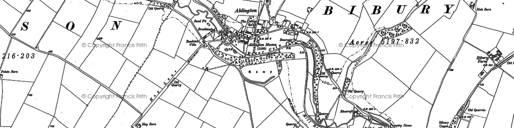 Old map of Ablington in 1881