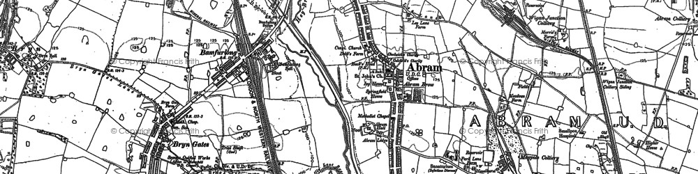 Old map of Abram in 1892
