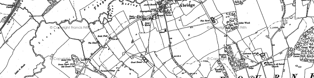 Old map of Abridge in 1895
