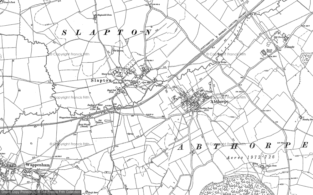 Old Map of Abthorpe, 1883 in 1883