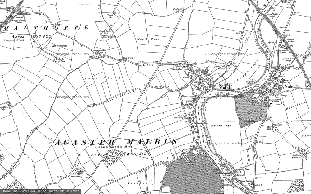 Old Map of Acaster Malbis, 1891 in 1891