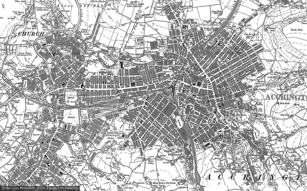 Old Map of Accrington, 1891 in 1891