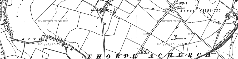 Old map of Achurch in 1903