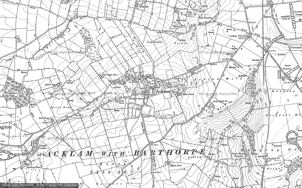 Old Map of Historic Map covering Acklam Wold in 1900