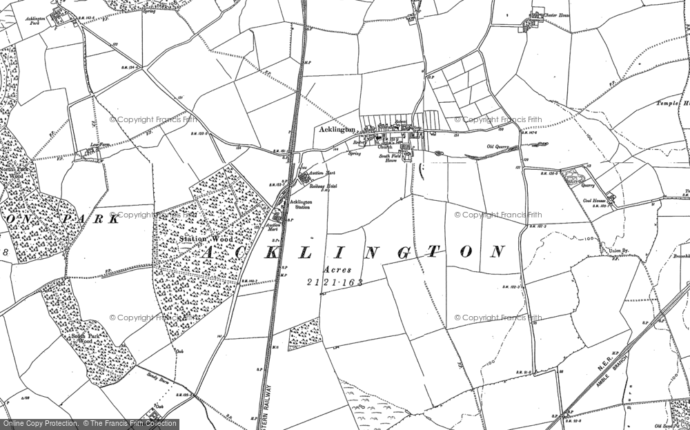 Old Map of Historic Map covering Acklington Park in 1895