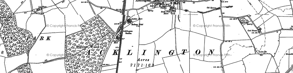Old map of Acklington Park in 1895