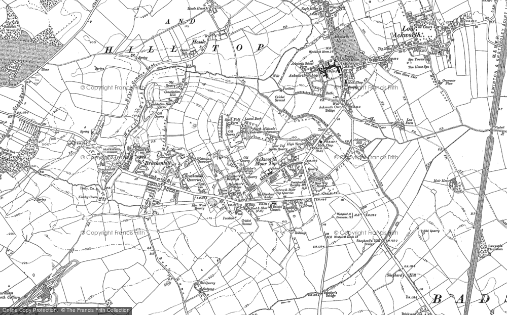 Old Map of Historic Map covering Ackworth School in 1860