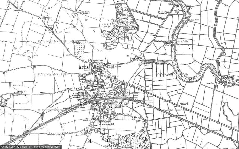 Old Map of Historic Map covering Acle Hall in 1884