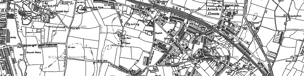 Old map of Acock's Green in 1886