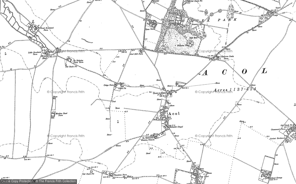 Old Map of Historic Map covering Alland Grange in 1883