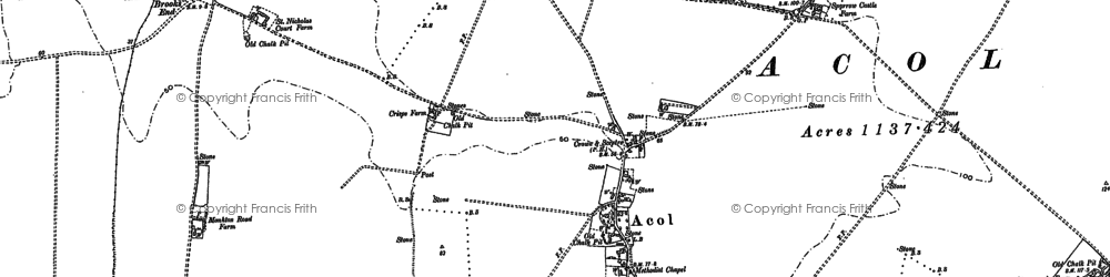 Old map of Acol in 1883