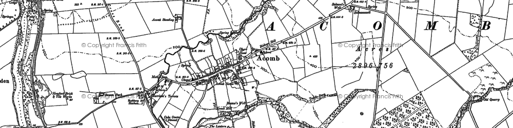 Old map of Acomb in 1895