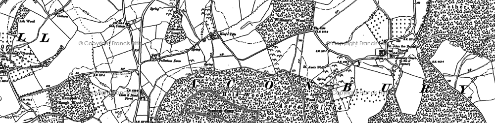 Old map of Aconbury in 1900
