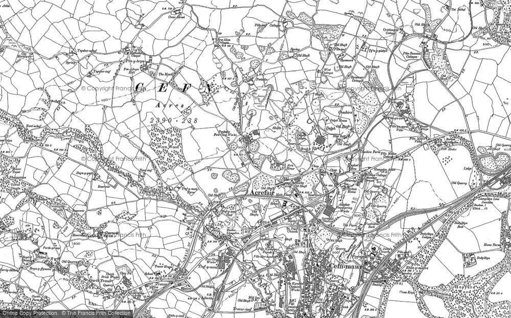 Old Map of Acrefair, 1910 in 1910