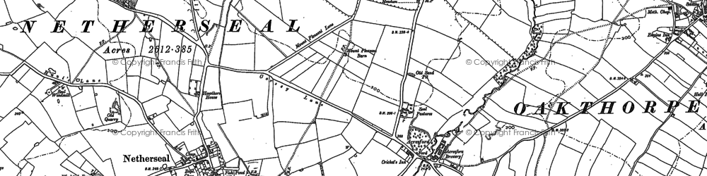 Old map of Acresford in 1882