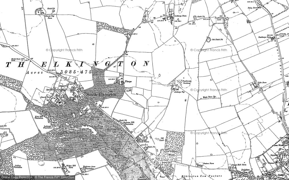 Old Map of Acthorpe Top, 1886 - 1887 in 1886