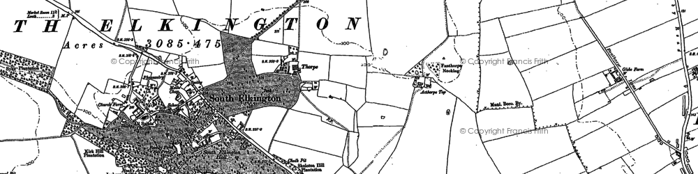 Old map of Acthorpe Top in 1886