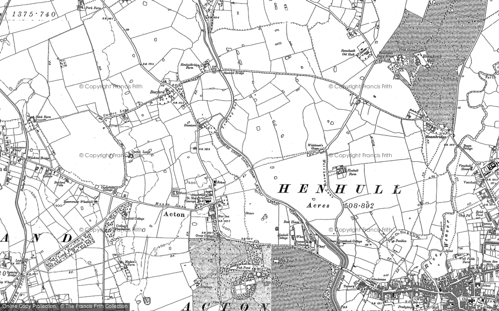 Old Map of Historic Map covering Acton Grange in 1897