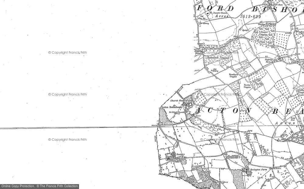 Old Map of Historic Map covering Acton Court in 1906