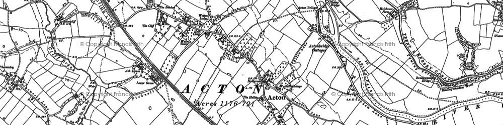 Old map of Acton Bridge in 1897
