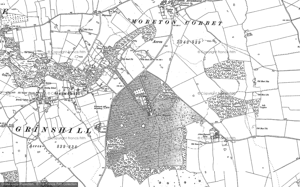 Old Map of Historic Map covering Acton Lea in 1903