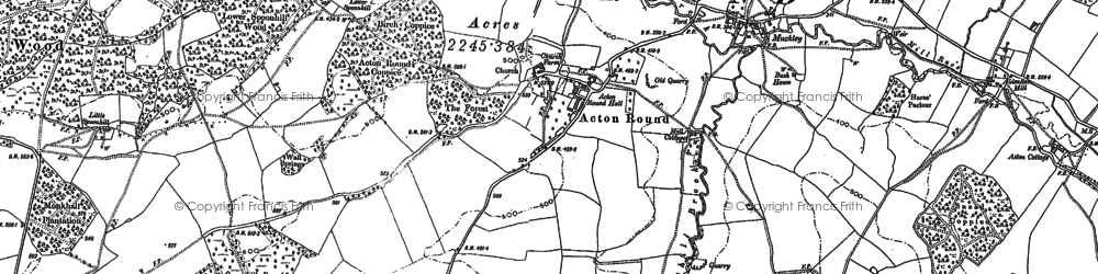 Old map of Acton Round in 1882