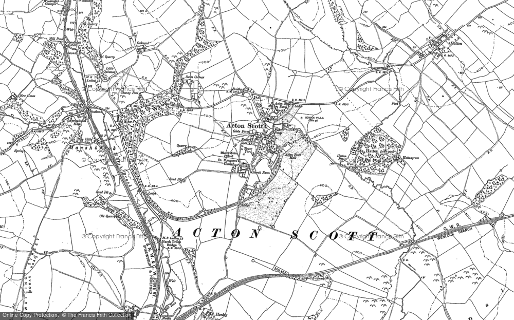 Old Map of Acton Scott, 1904 in 1904