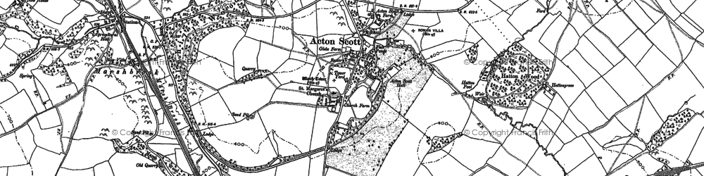 Old map of Acton Scott in 1904
