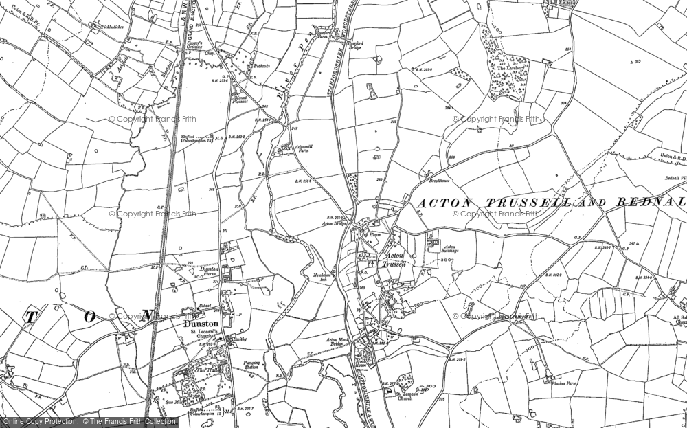 Old Map of Acton Trussell, 1886 in 1886