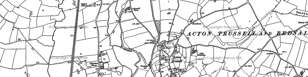 Old map of Acton Trussell in 1886