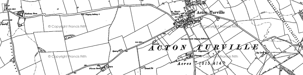Old map of Acton Turville in 1919