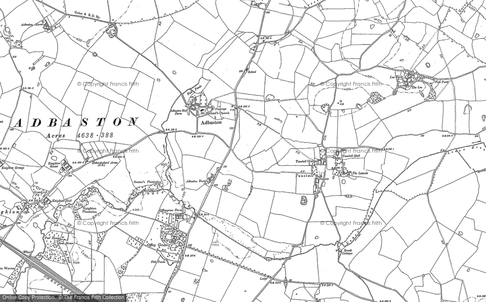 Old Map of Adbaston, 1886 - 1904 in 1886